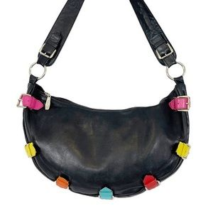 VINTAGE Italian Black Leather Multicolor Hobo